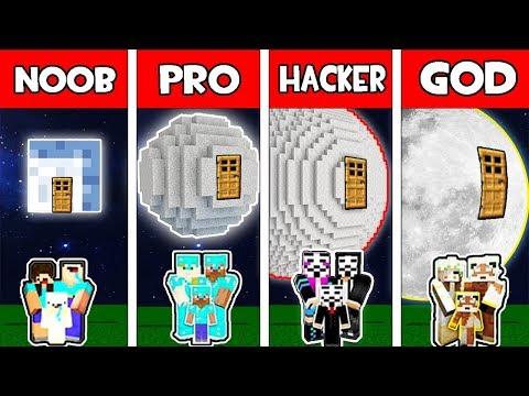Minecraft - NOOB vs PRO vs HACKER vs GOD : FAMILY MOON BASE in Minecraft Animation