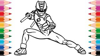 How to Draw Power Rangers Superhero for Kids Learn Colors Drawing and Coloring Pages for Children