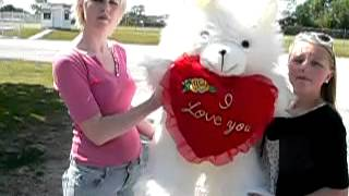 3 feet tall big valentines day teddy bear long white fur with i love you heart pillow made in usa