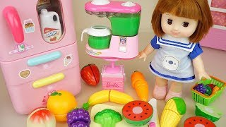 Baby doll fruit juice and refrigerator toys kitchen play