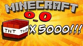 Что будет если взорвать 5000 ТНТ в майнкрафт?! 10 TNT x500  в Minecraft! Впервые 1080p!