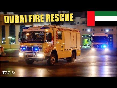 [Dubai] Fire Trucks Responding From Al Etihad Civil Defence Station