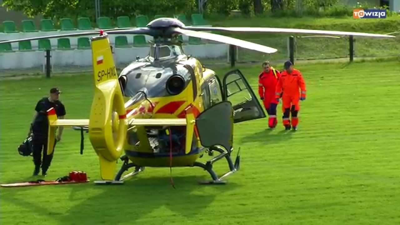 Mecz przerwany lądowaniem śmigłowca ratunkowego