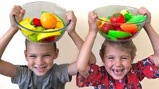 Kids Vania and Mania  play with fruits and vegetables