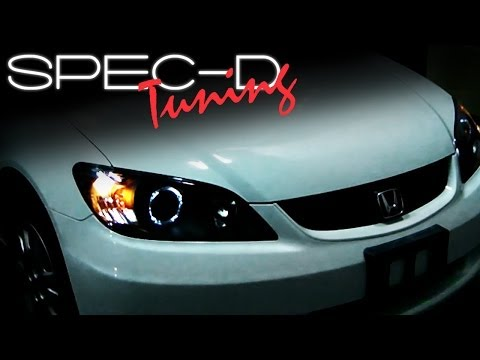 SPECDTUNING INSTALLATION VIDEO: 2004-2005 HONDA CIVIC HEAD LIGHTS / PROJECTOR HEAD LIGHTS