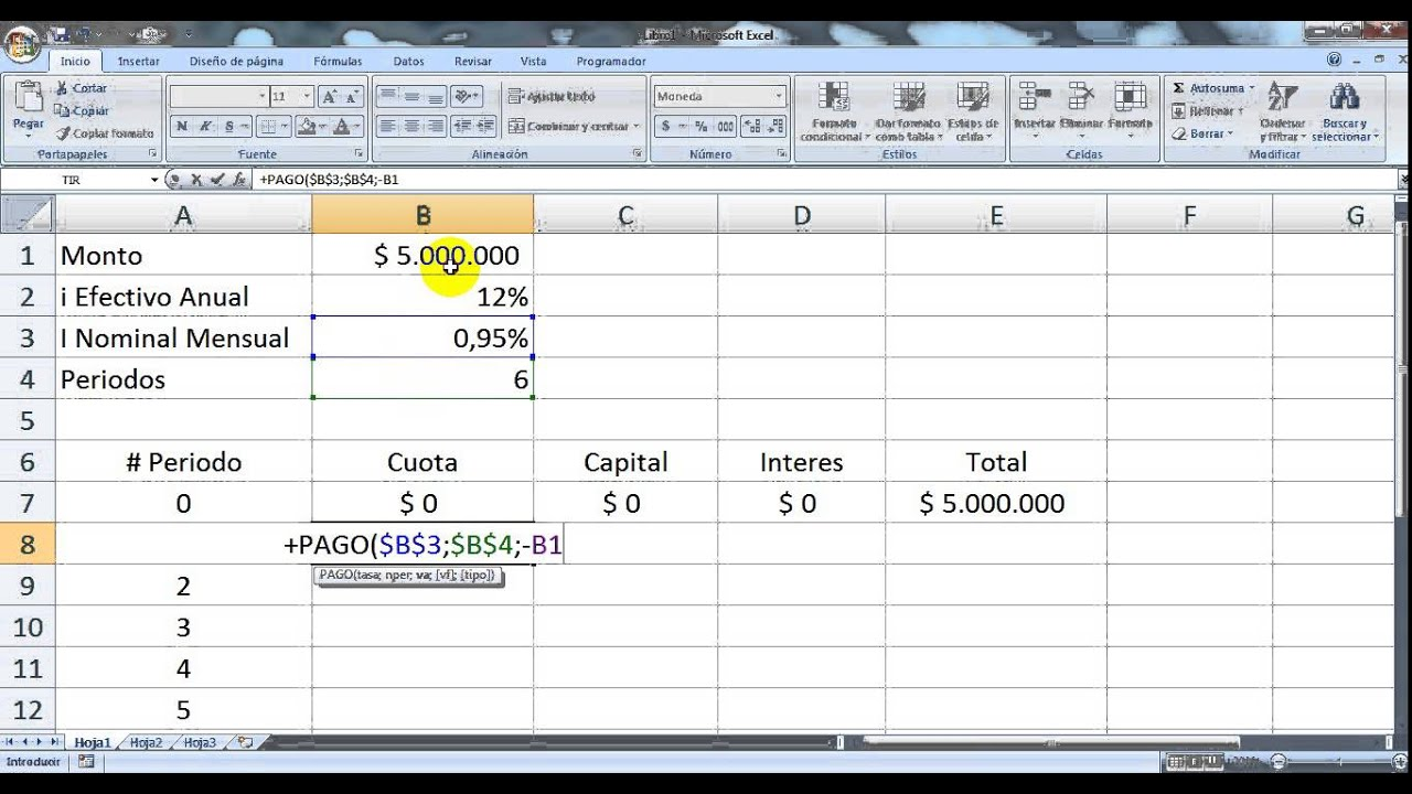Tabla de amortizacion cuota fija en Excel - YouTube