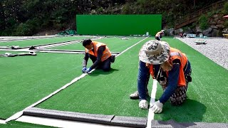 Artificial Grass Factory Of Korea. And The Process Of Building Tennis Court