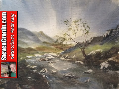 Watercolour painting demo with the large hake brush