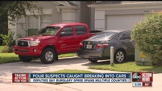 Four suspects caught breaking into cars
