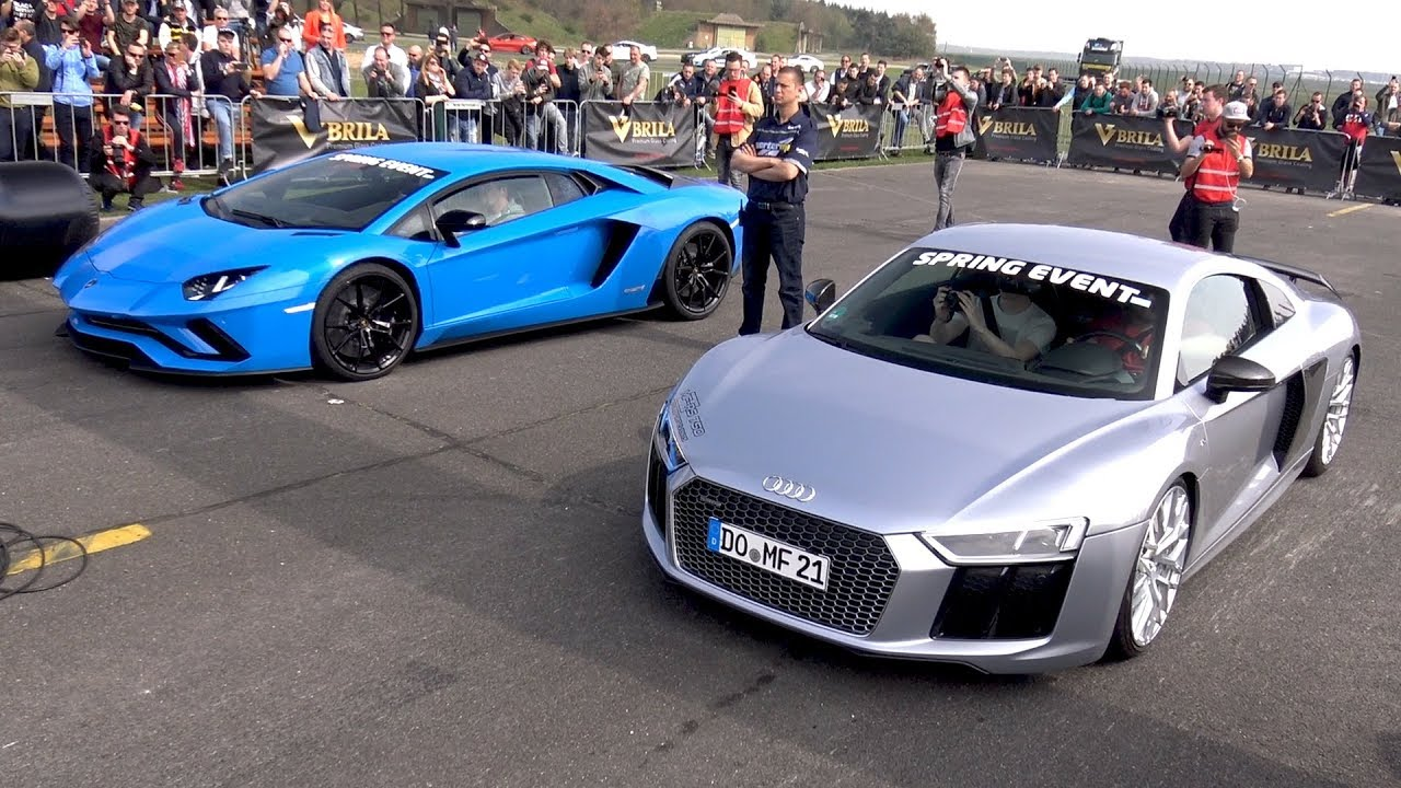 audi r8 v10 plus vs lamborghini aventador s youtube. Black Bedroom Furniture Sets. Home Design Ideas