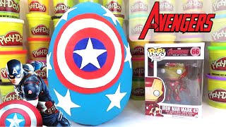 CAPTAIN AMERICA GIANT PLAY DOH SURPRISE EGG u0026 IRON MAN TOYS