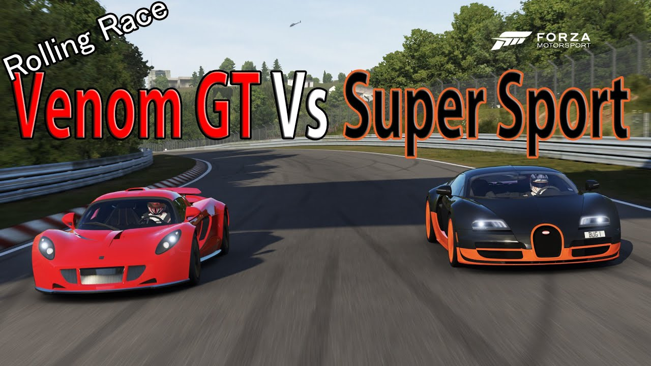 forza motorsport 6 drag race bugatti veyron super sport vs hennessey venom gt youtube. Black Bedroom Furniture Sets. Home Design Ideas