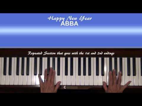 ABBA Happy New Year Piano Tutorial SLOW