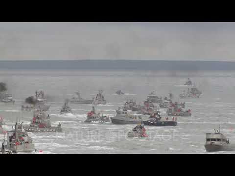 Tilt Down Pan Right Cineflex Aerial Of Bristol Bay Salmon Fishery Alaska Fishing Pebble Mine Pote...