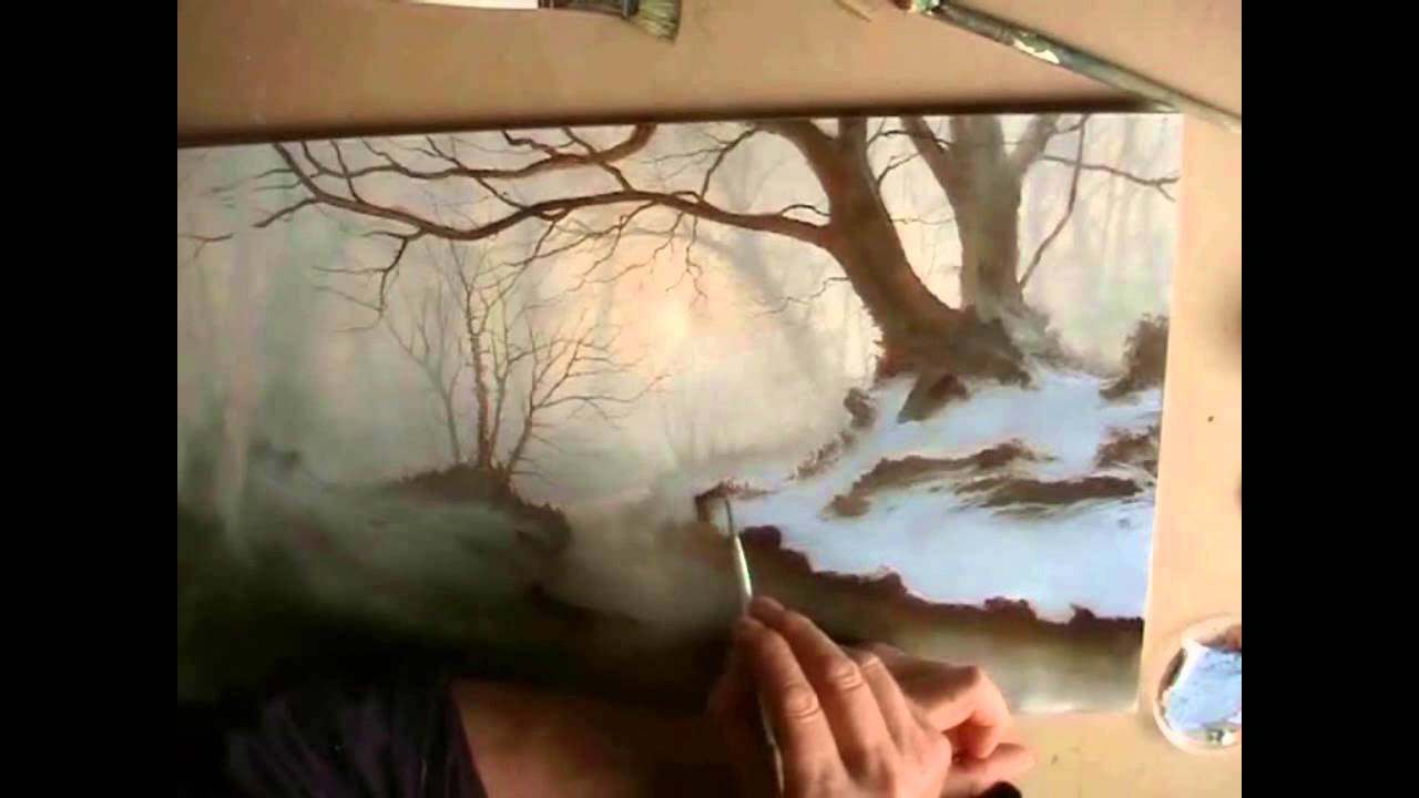Painting silver birch trees in a woodland oil painting by alan.