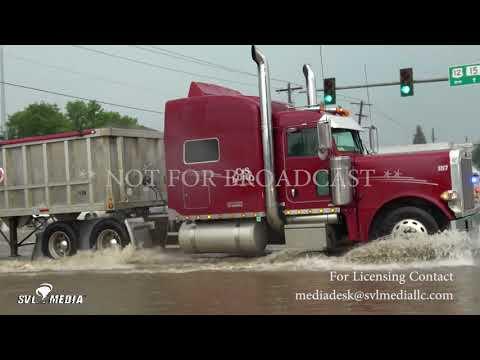 Milbank, SD Golf ball hail accumulation, flooding, power pole damage