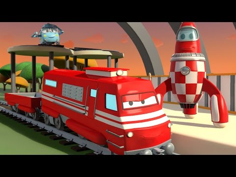 TROY The TRAIN and the ROCKET Spaceship in CAR CITY | CARS & TRUCKS CARTOON for CHILDREN