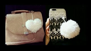 DIY| how to make pompom & heart 💓 keychain
