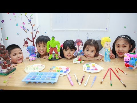 Kids Go To School | Chuns Learn Painting Statue With Friends Childrens Of Creativity 2