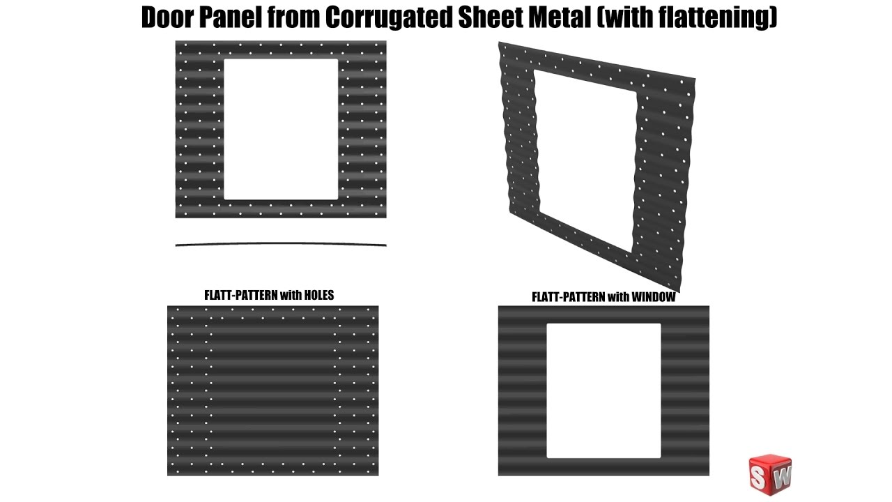 door panel from corrugated sheet metal - solidworks tutorial