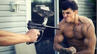 bodybuilder vs paintball guns   challenge gone wrong blood   paintball fails   slow motion paintball