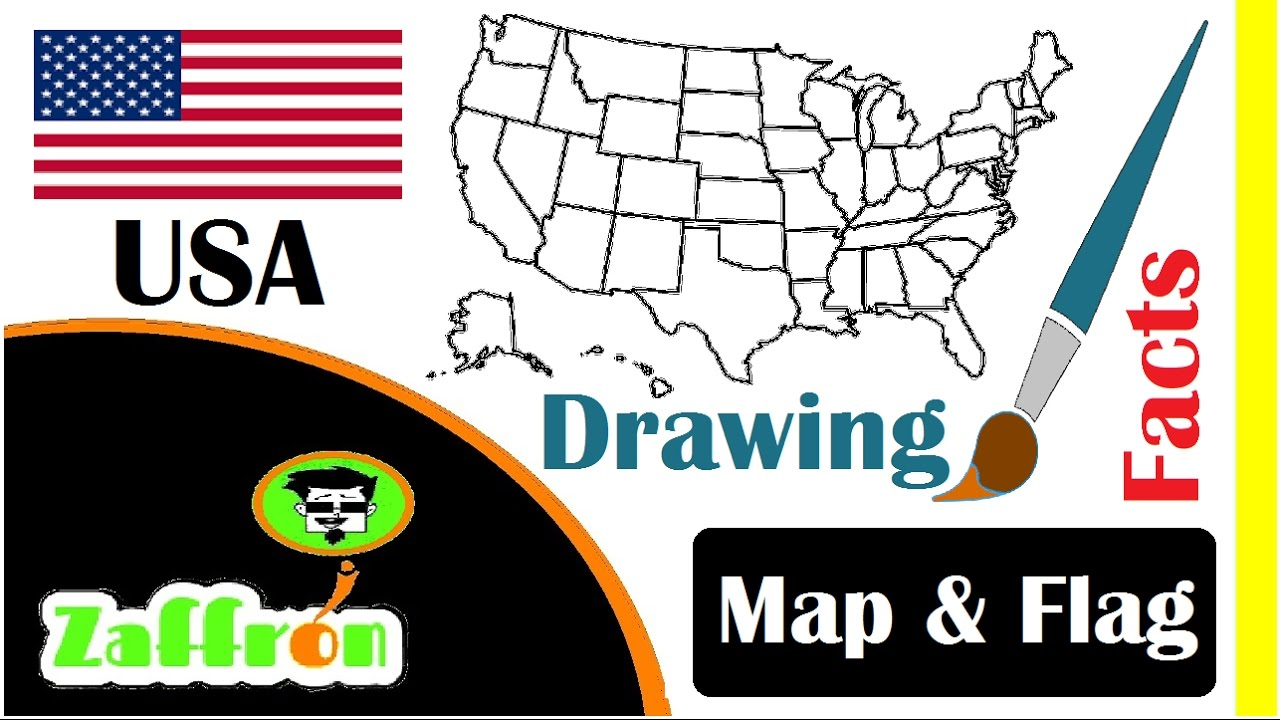 Learn USA Country Facts Geography Map Flag Drawings تعلم - Usa country map