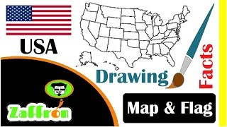 Learn USA Country Facts, Geography, Map & Flag Drawings | تعلم جغرافيا أمريكا | 国の事実と地理 | zaffron