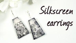 Silkscreen earrings ∗ Серьги с шелкографией ∗ Polymer clay tutorial ∗ Мастер-класс
