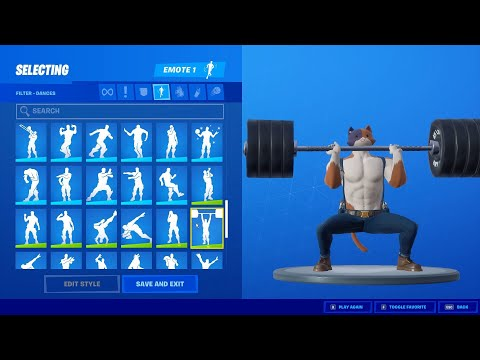 Fortnite Cat *Meowscles Skin* With All My Emotes And Dances