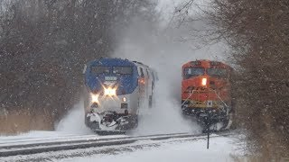 Slow BNSF Coal Train Gets Passed by Amtrak in Cloud of Snow