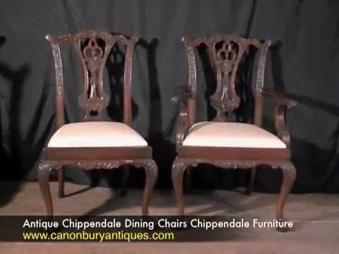 Antique Chippendale Dining Chairs Chippendale Furniture - Antique Chippendale Dining Chairs Chippendale Furniture - YouTube