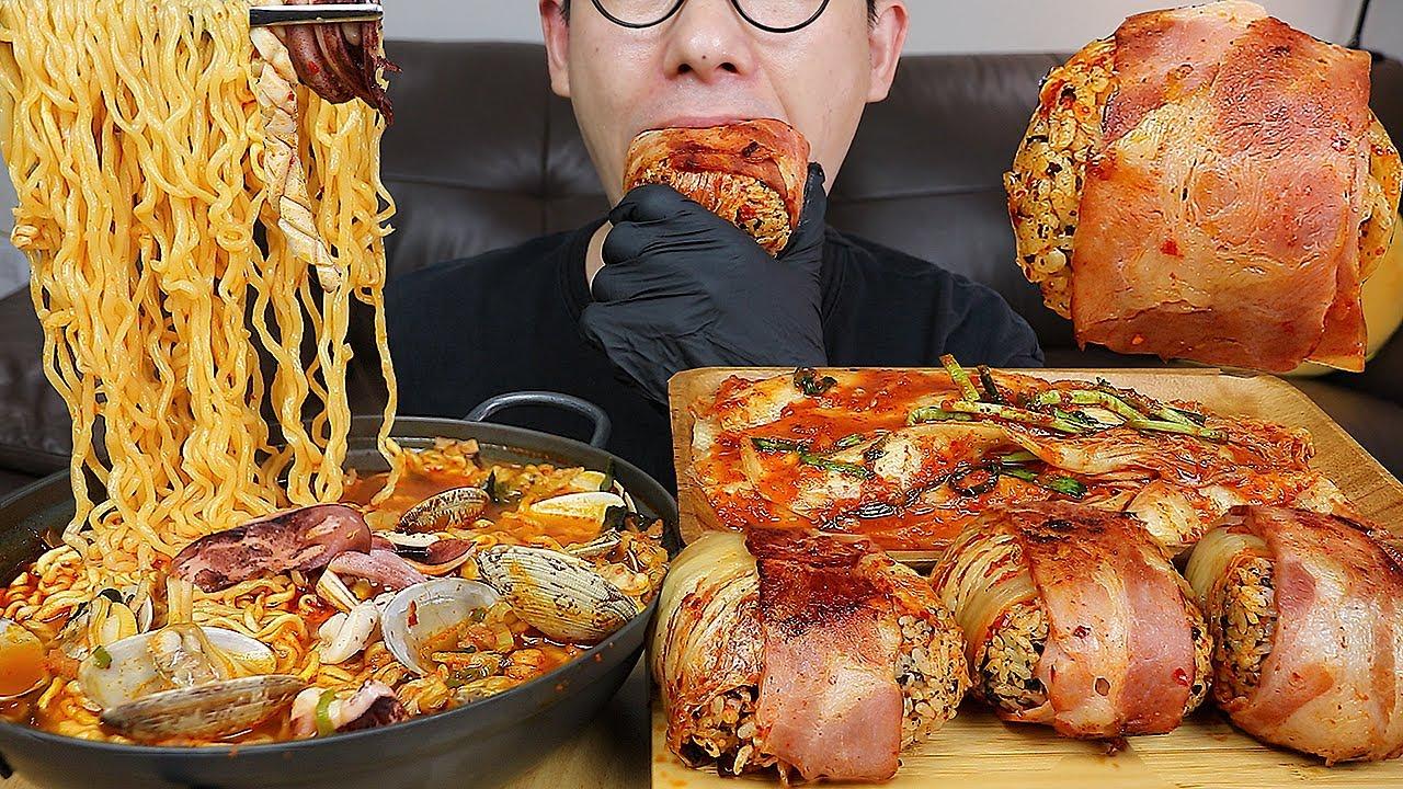 바지락과 진짜 🦑오징어가들어간 오징어짬뽕에 🥓베이컨김치주먹밥 요리 먹방! MUKBANG