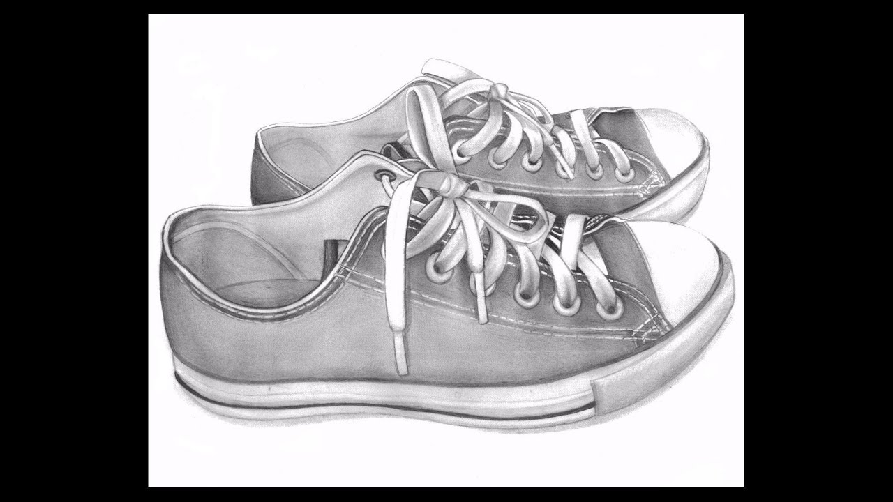Realistic 3d shoes drawing with pencil