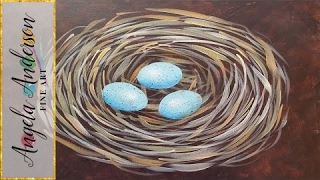 Bird Nest Acrylic Painting Tutorial - Free Beginner Art Lesson