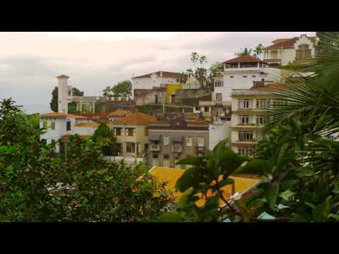 Panning shot of residential buildings in Rio de Janeiro, Brazil