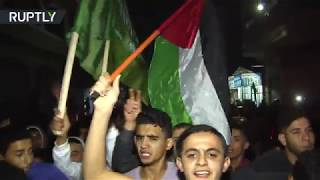 Gaza residents celebrate ceasefire with Israel