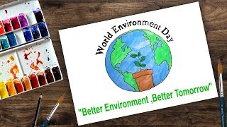 How to draw world environment day 2018 | poster drawing for kids