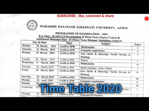 B.A. [ Part :- 2nd & 3rd ] Year Exam  Time Table 2019 / Date sheet for 2019/  MDSU  AJMER