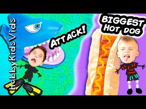 SHARK + Biggest HOTDOG On A Stick Surprises! Water Shark Toy HobbyKidsVids
