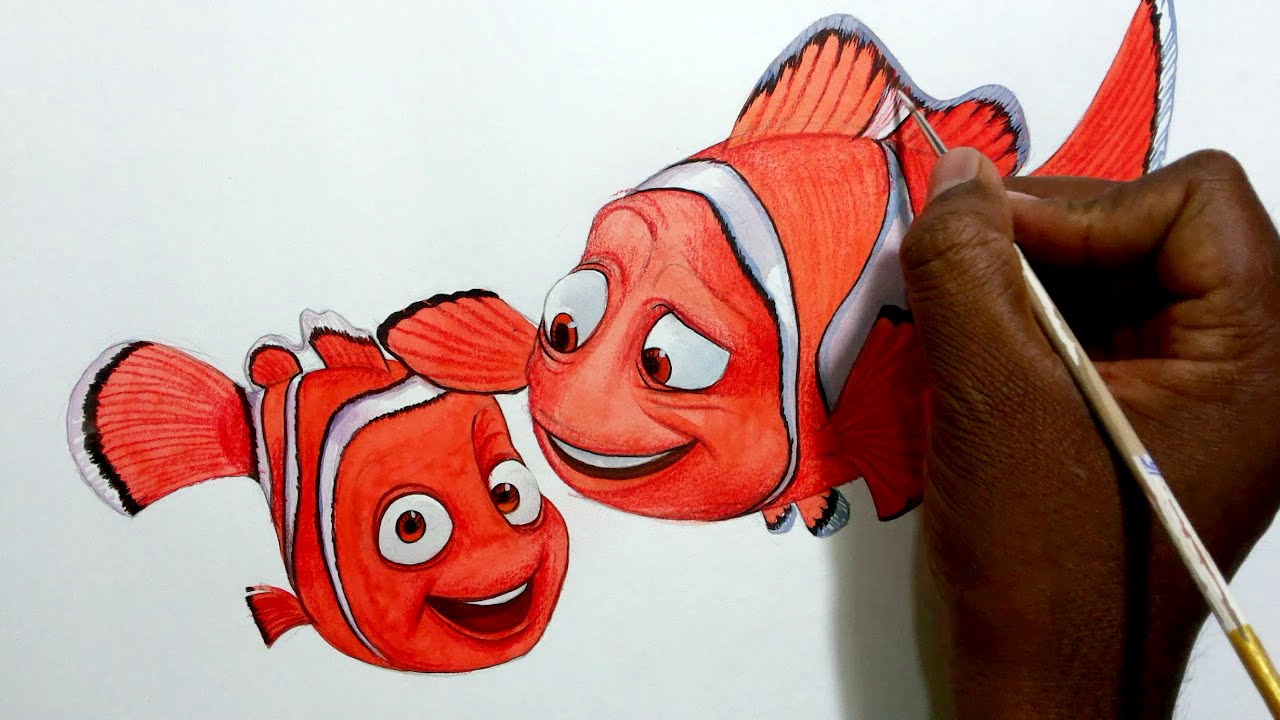 How To Draw Nemo And Marlin Together From Finding