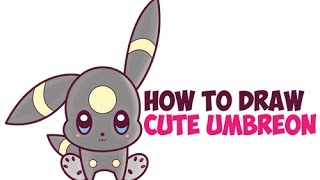 How to Draw Umbreon from Pokemon (Cute Chibi Kawaii) Easy Step by Step Drawing for Kids