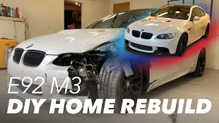 Rebuilding A Wrecked E92 M3 From A Salvage Auction At Home!