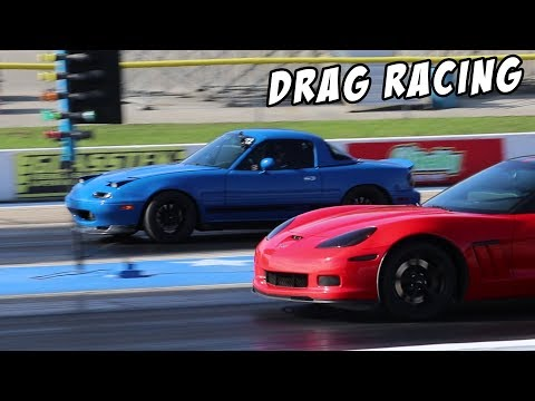 1/4 Mile Drag Racing In The Turbo Miata!