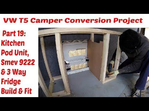 vw-t5-camper-conversion-part-19:-kitchen-unit,-smev-9222-&-3-way-fridge-build-&-install