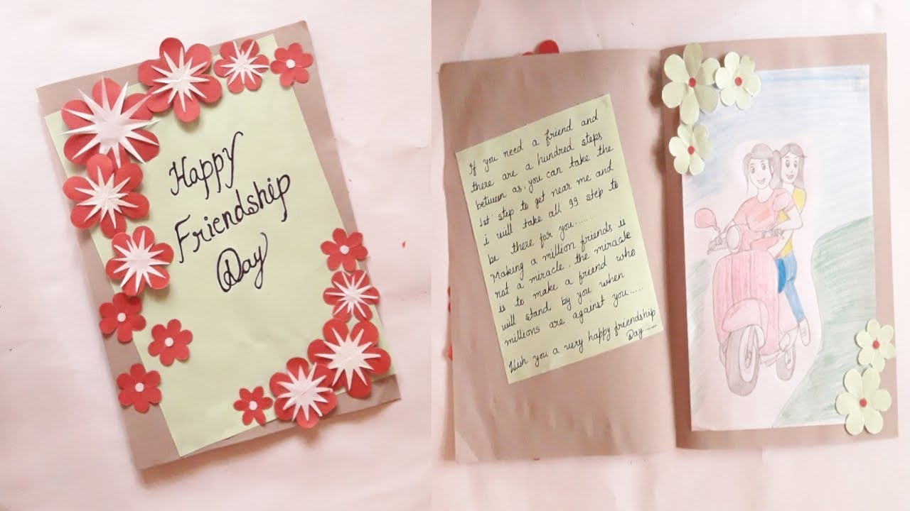 Greeting Card Idea For Friendship Day Easy To Make Flower Card