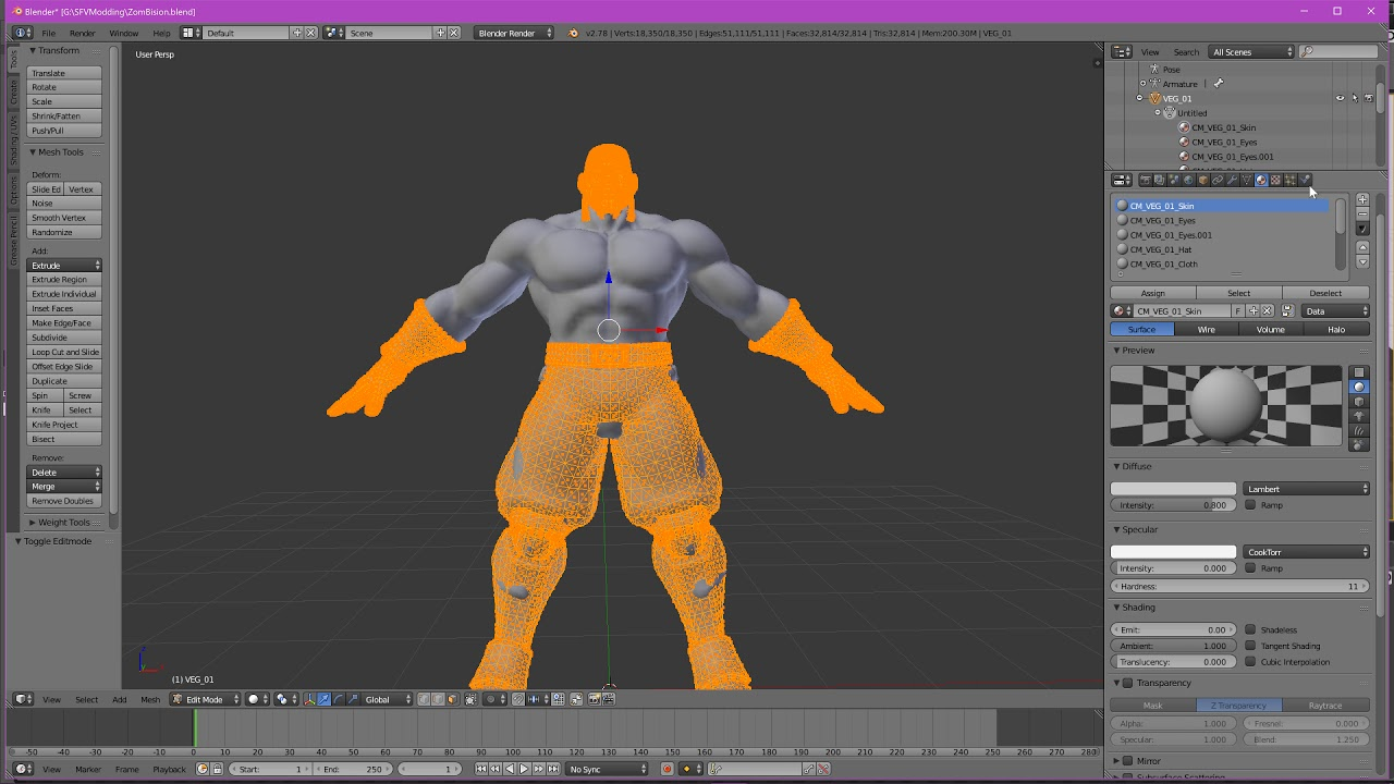 SFV Modding Tutorial - Creating Zombie Bison - Pt.3 Normal Maps & Joining  Mesh Parts 4k 60FPS