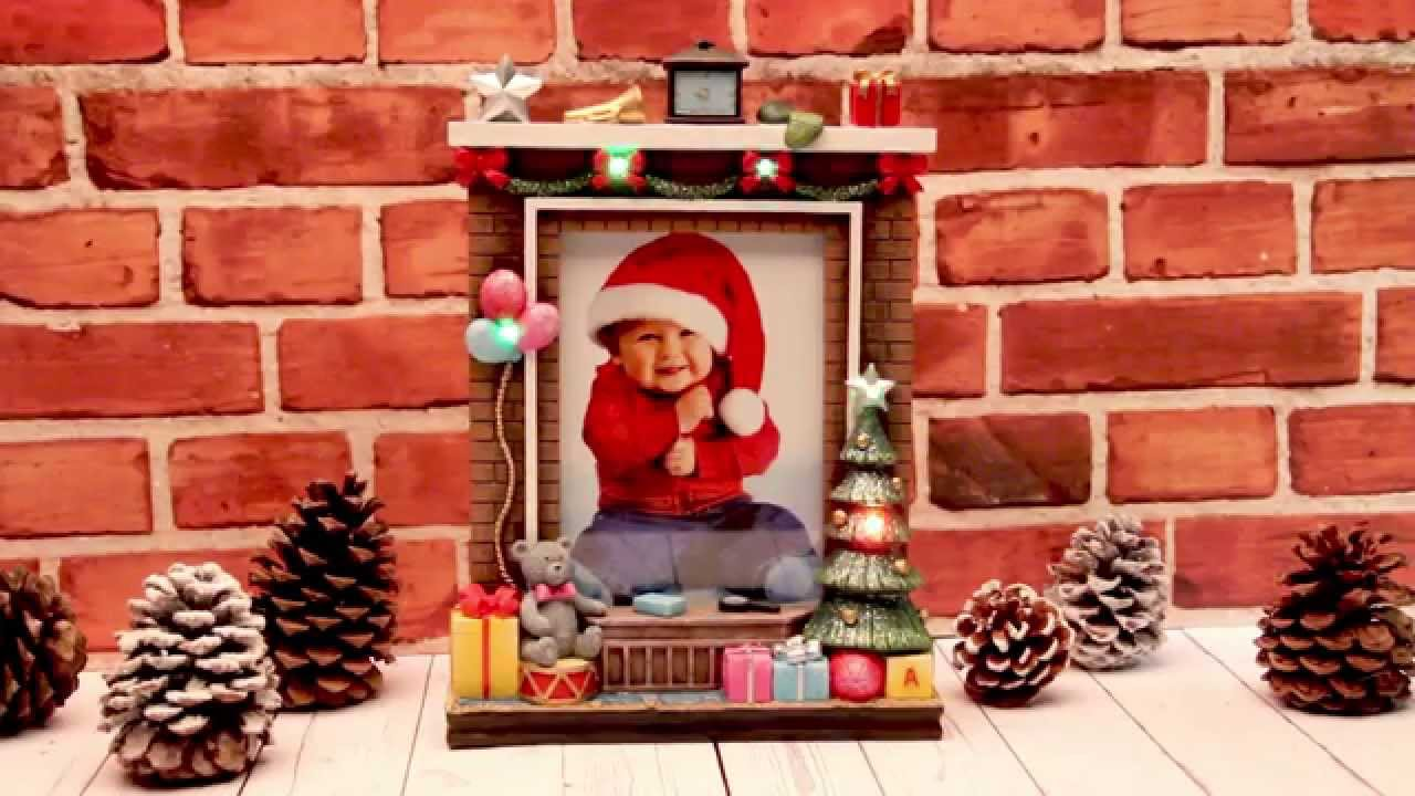 Light Up Fireplace Christmas Resin Picture Frame From Neil