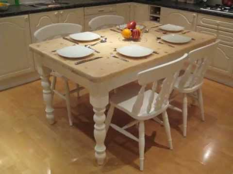 small dining chairs oversized chair slipcovers shabby chic cottage farmhouse kitchen dinning table with 4 fiddleback - youtube