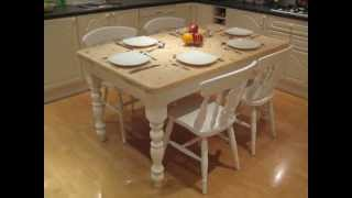 Shabby Chic  Cottage Farmhouse Kitchen Dinning Table With 4 Fiddleback Chairs
