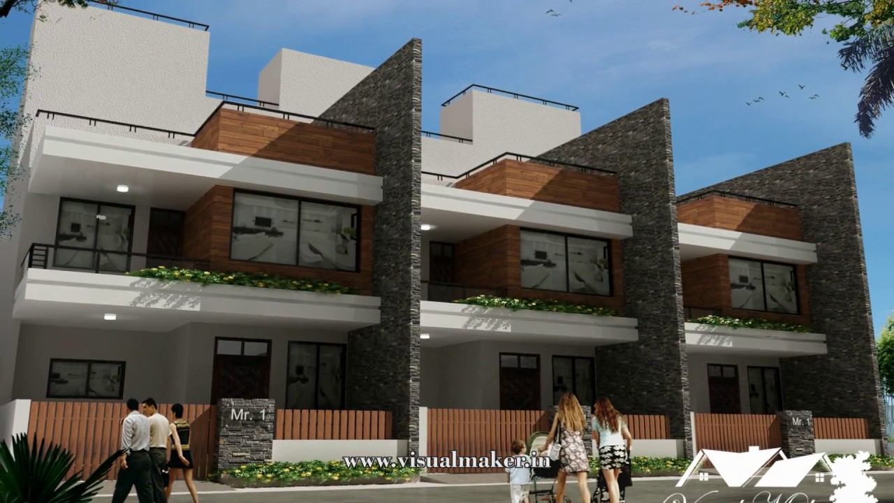 Front Elevation Of Row Houses : Row house elevation design indore visual maker youtube